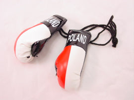 "Hanging Mini Boxing Gloves 3.5""  POLAND Auto Dorm Locker Room Decor Souvenirs"