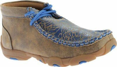 Twisted X Childrens YDM0009 Cowkids Leather Moccasin Brown Blue Size 11.5 US