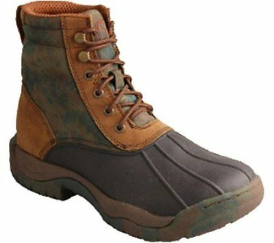 Twisted X Womens WGLW001 Waterproof Rubber Laceup Boot Camo Green Brown Size 10