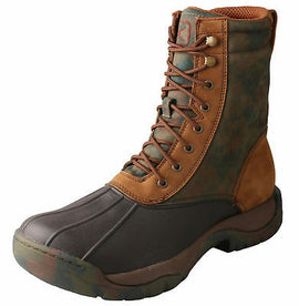 Twisted X Mens MGLW001 Waterproof Rubber Laceup Boot Camo Green Brown Size 8 US