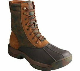 Twisted X Mens MGLW001 Waterproof Rubber Laceup Boot Camo Green Brown Size 7.5 W