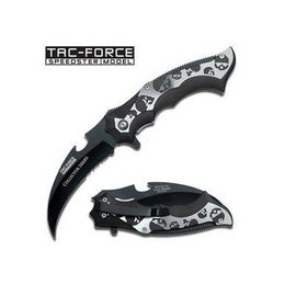 Grey Skulls Folding Knife - Black Handle - 4.5 inches Overall Closed Length