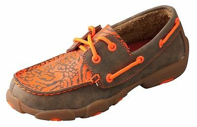 Twisted X Childrens YDM0008 Cowkids Leather Moccasin Brown Orange Size 12 US