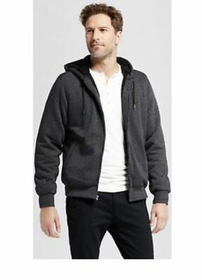 Mens Standard Fit Sherpa Fleece Jacket - Goodfellow & Co Charcoal Size Large