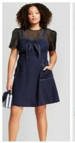 New Free Shipping Womens Sleeveless Tie Front Dress A New Day Navy Size Small