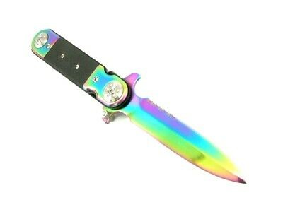 RAINBOW POCKET FOLDING KNIFE -  HALF SERRATED NEW!