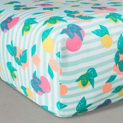 Oh Joy! Woven Fitted Sheets - Fruit Stripes, Green