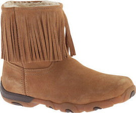 Twisted X Womens WDB0003 Fringe Tan Leather Boot Fur Lined Moccasin Size 6 US