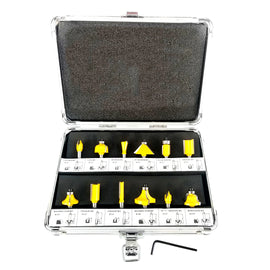 12pc Router Bit Set Tungsten Carbide Tip TCT With 1/4 Shank Cutter and Aluminum Case