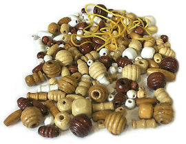 Assorted Wood Beads Various Colors Sizes with Cord Set Bracelets Necklace Charms