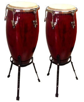 "Congas SET 11"" & 12'' with Stands Conga Drums Latin Percussion Red Wine Wood"