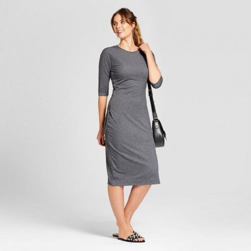 Women's Heathered Cinched Waist Dress - A New Day™ Gray L