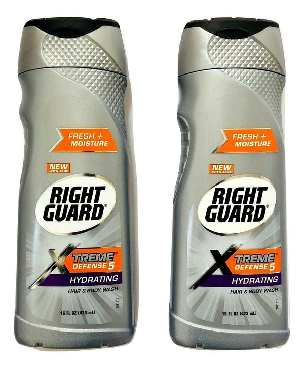 Set of 2 - Right Guard Xtreme Defense 5 Hydrating Hair/Body Wash Gel Aloe