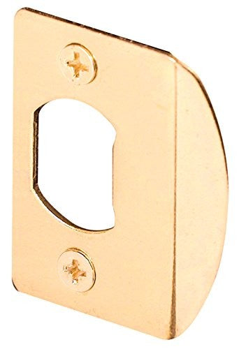 Defender Security E 2307 Standard Latch Strike, 1-5/8 in. Hole Spacing, Steel, Brass Plated, Pack of 1