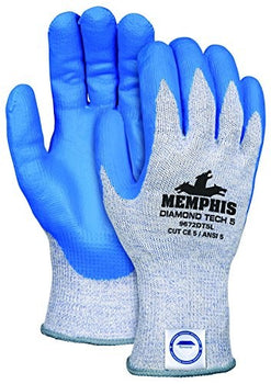 MCR Safety 9672DT5PUM Memphis Diamond Tech 5 10 Gauge Dyneema Gloves (1 Pair), Navy Blue, Medium
