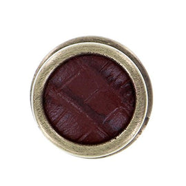 Vicenza Designs K1111 Equestre Insert Knob with Brown Leather Strap, Antique Brass