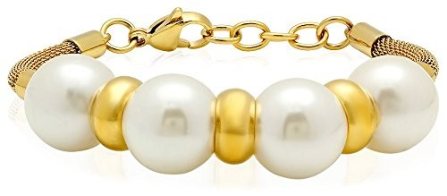 Piatella Simulated Pearl & 18K Gold-Plated Bracelet