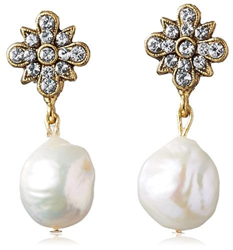 Miss Ellie Swarovski Crystal & Pearl Drop Earrings