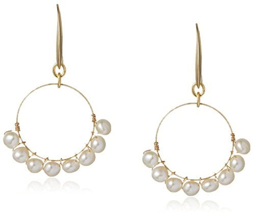 David Aubrey Hadrien Simulated Pearl Beaded Hoop Earrings