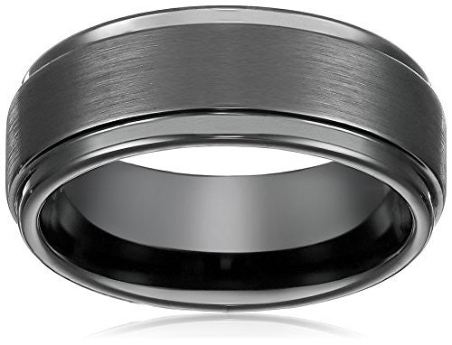 Rosenthal Collection 8mm Black High Polish Tungsten Carbide Men's Wedding Band Ring in Comfort Fit and Matte Finish Sizes 5 to 16