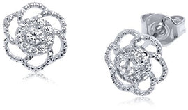 Sevil Swarovski Crystal Floral Stud Earrings