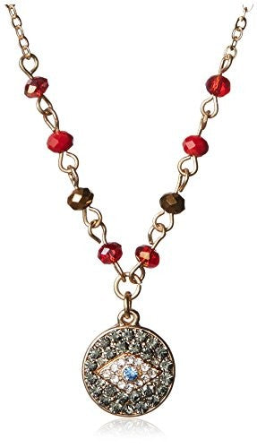 Jules Smith Red Bead and Pave Evil Eye Necklace