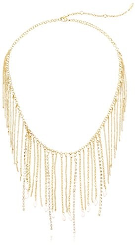 Ettika Chain & Crystal Strand Necklace with Pearl