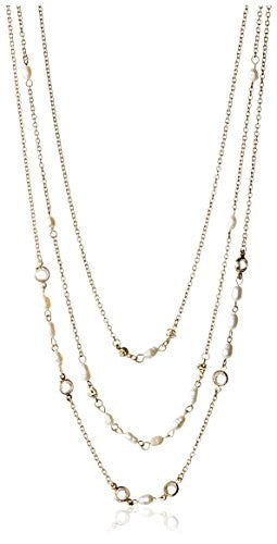 Ettika Three-Layer Chain & Pearl Necklace