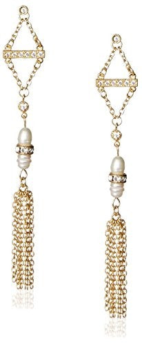 Ettika Crystal & Pearl Chain Tassel Earrings