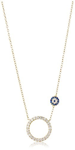 Dolce Vetra Open CZ Circle & Evil Eye Necklace