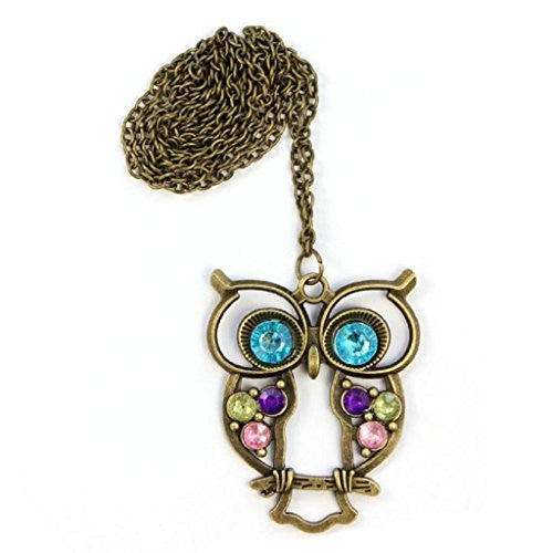 DaySeventh Owl Jewelry Crystal Vintage Big Blue Eyed Owl Pendants Necklace sweater Coat Long Chain Pendant Necklace (Gold)