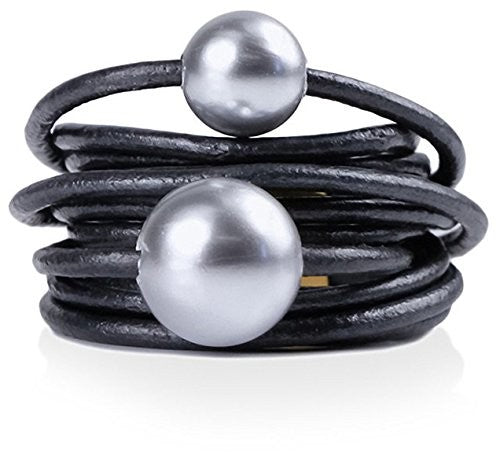 Saachi Gunmetal-Tone Simulated Pearl Leather Ring