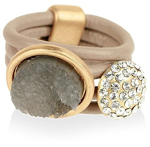 Saachi Nude Resin & Crystal Leather Ring