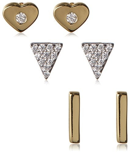 Dolce Vetra CZ Heart, Pavà Triangle & Bar Stud Set