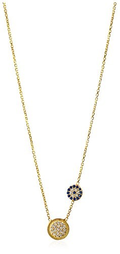 Dolce Vetra Double Pavà Disc Asymmetrical Necklace