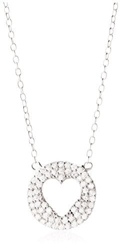 Dolce Vetra Rhodium-Plated PavàCutout Heart Disc Pendant Necklace
