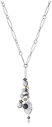 Indulgems Pearl, Labradorite & Blue Lace Agate Long Tassel Necklace