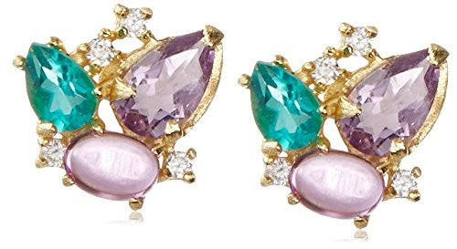 Indulgems Amethyst, Rose Quartz, Apatite & CZ Cluster Earrings