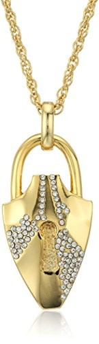Fragments Pave Lock Charm Necklace, 29