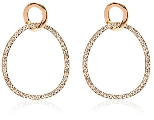 Sevil 18K Gold Plated Gold and White Swarovski Elements Circle Drop Earrings