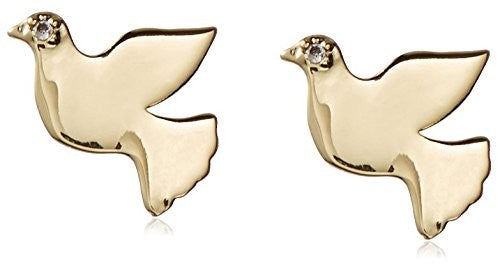 Kevia Brushed Metal Dove Post Earrings with Flush CZ Accent