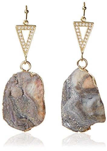 Kevia Open Pave Triangle with Druzy Medallion Drop