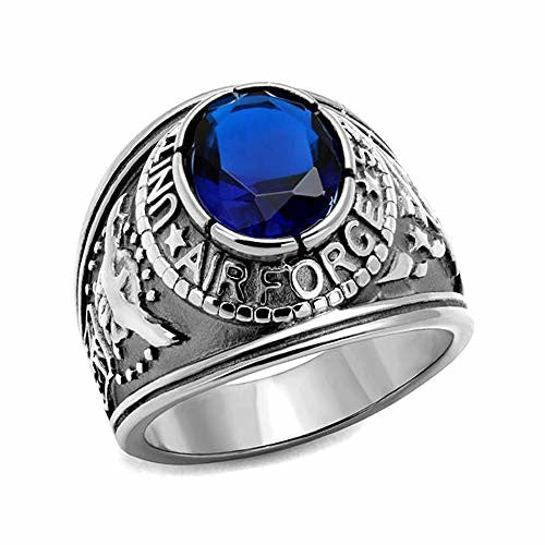 Eternal Sparkles Men's Stainless Steel High Polished United States Air Force Synthetic Sapphire Ring