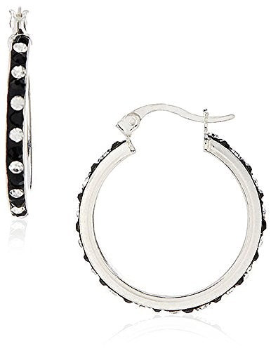 Peermont Jewelry Sterling Silver Black & White Crystal Hoop Earrings