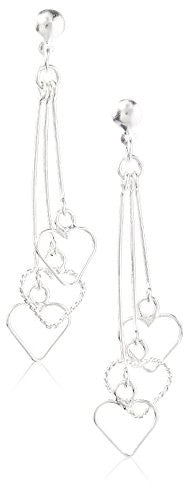 Peermont Jewelry Sterling Silver Hearts Triplet Drop Earrings