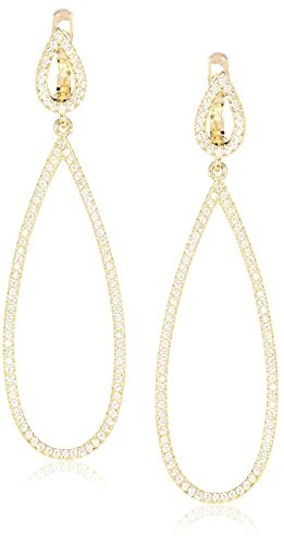 Peermont Jewelry CZ & 18K Yellow Gold-Plated Sterling Silver Open Teardrop Earrings