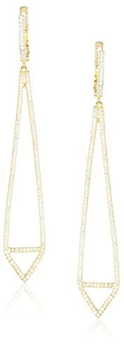 Peermont Jewelry CZ & 18K Yellow Gold-Plated Sterling Silver Pointed Drop Earrings