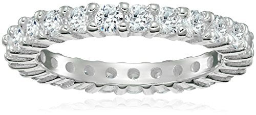 Peermont 925 Sterling Silver Prong-Set CZ Eternity Ring