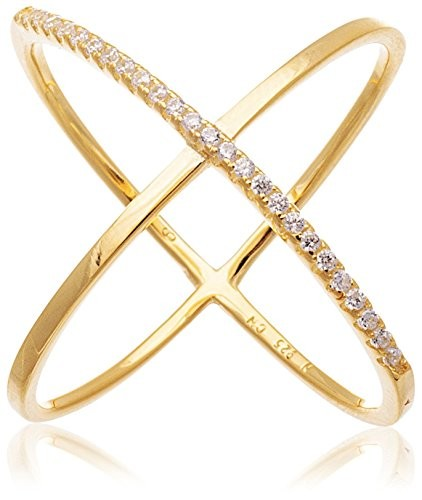 Bliss 18K Gold-Plated CZ Sterling Silver X Ring