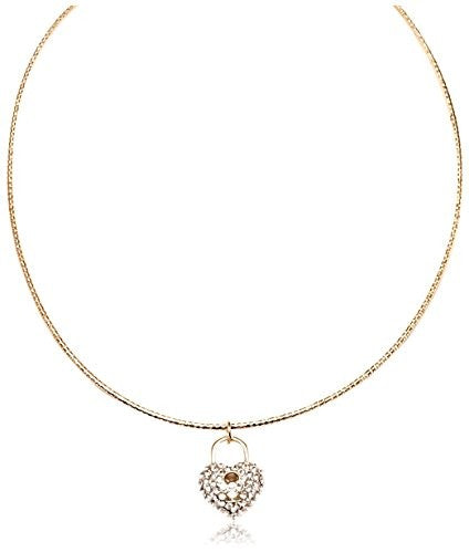 Sevil Swarovski Elements & 18K Gold-Plated Heart Lock Necklace